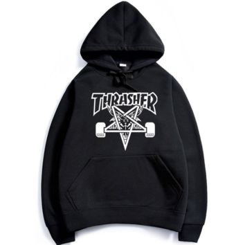 Womens Black THRASHER Hooded Sweatshirt