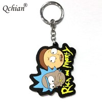2017 Top Popular Anime Rick And Morty Rubber Keychain And Bag Pendant Jewelry Keyring Beautiful Gift