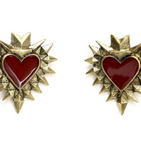 Spiked Heart Post Earrings Gold Tone EE14 Punk Studs Fashion Jewelry