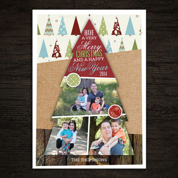 Printable Christmas Card -- Holiday Photo Card - Christmas Tree Picture Collage Scrapbook