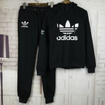 Black Adidas Letters Long Sleeve Shirt Sweater Pants Sweatpants Set Two-Piece Sportswear