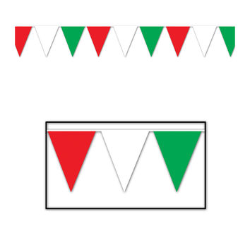 Outdoor Pennant Banner 17 x 120' - Red, White, Green- Pack of 12
