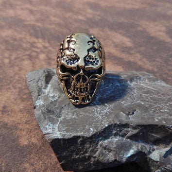 22k Gold Plated Titanium Skull Ring for Men
