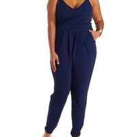 Plus Size Navy Strappy V-Neck Jumpsuit by Charlotte Russe