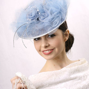 Light blue Kentucky derby Hat, Royal Ascot Fascinator, Wedding guest headpiece fascinator, Haute couture Fascinator by Irina Sardareva