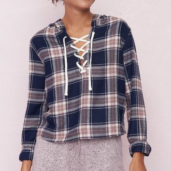 Lace-Up Flannel Hoodie