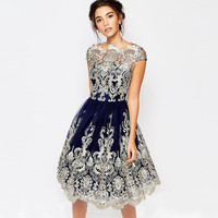 Retro Mesh Embroidery A-Line Short Dress