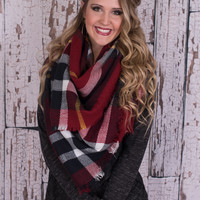 My Winter Song Plaid Blanket Scarf - Red