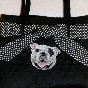 Black Embroidered English Bulldog Quilted Bag