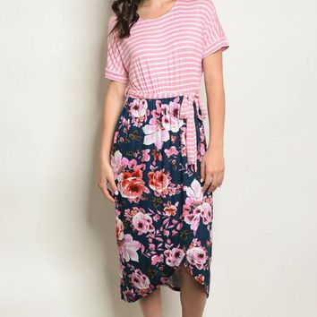 Lilian Floral & Stripe Dress