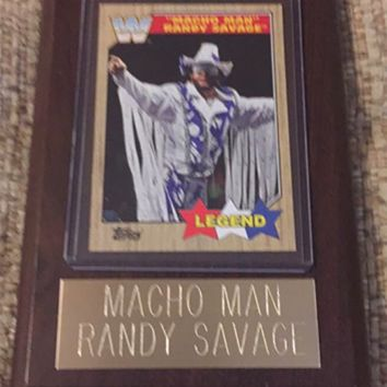 "Macho Man Randy Savage 4"" x 6"" WWE Legend Wrestling Plaque"