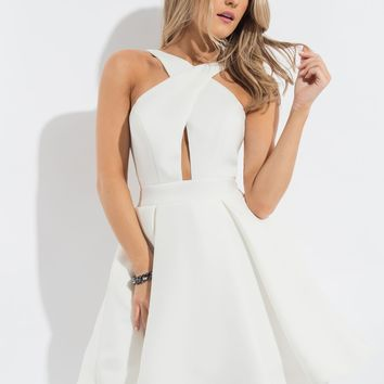 Rachel Allan 4183 Criss-Cross Halter Dress
