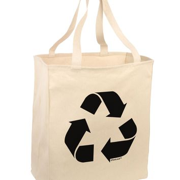 Recycle Black and White Large Grocery Tote Bag by TooLoud