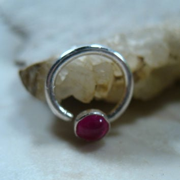 Septum & Nipple Ring Silver Ruby Gemstone