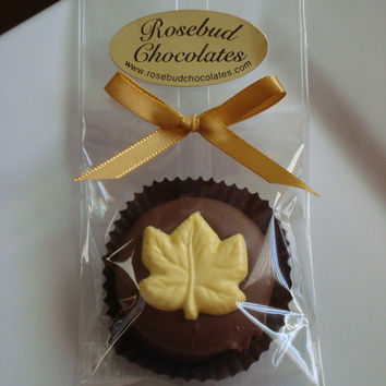 12 Chocolate Fall Leaf Cookie Party Favors Birthday Wedding Anniversary Thanksgiving Leaves