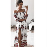 Red Flower Bohemian Dress