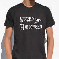 Wicked Halloween Shirt Unisex Spooky Graphic Tee Cat on broom men tshirt Party Halloween Mens t shirt