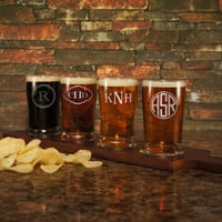 Design's Beer Flight Sampler including Options for Monogrammed Glasses, Engraved Handle, and Bottom Engraving (Each - 5 oz. Glasses)