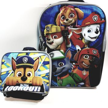 "New Paw Partrol To The Lookout Large 16"" School Bag/Knapsack/Backpack & 9"" Lunch Box"