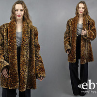 Faux Cheetah Coat Oversized Coat Big Coat Animal Print Coat Fake Cheetah Fur Coat Chunky Coat Macklemore Coat 1980s Coat 80s Coat L XL