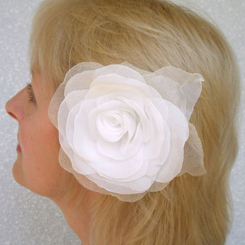 White Bridal Rose Clip, Pin
