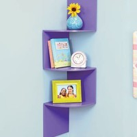 Purple Corner Wall Shelf 3 Tier Shelves