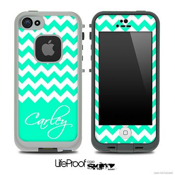Trendy Green/White Chevron with Your Name Custom Skin for the iPhone 5 or 4/4s LifeProof Case