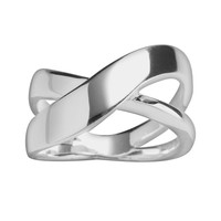 Sterling Silver Contemporary Crossover Ring (Grey)