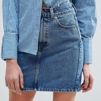 ASOS Denim Original High Waisted Skirt in Waterfall Blue at asos.com
