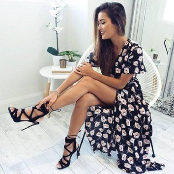 Loyally Elegant Floral print summer dress vestidos  Black split