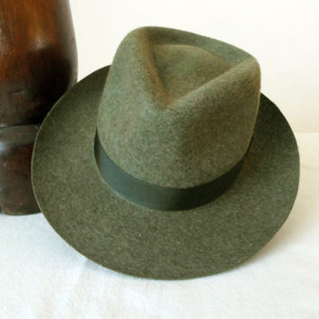 Olive Drab Tweed Wool Felt Fedora - Wide Brim Pure Wool Felt Handmade Fedora Hat - Men Women