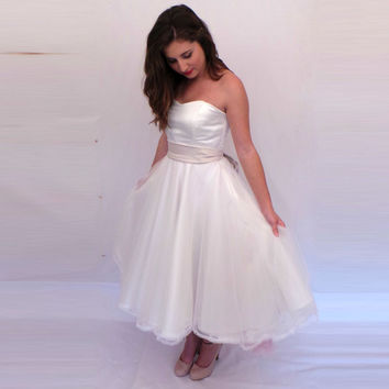 Sweetheart Satin Wedding Dress with Tulle Overlay Contrast Sash Tea-length Bridal Party Reception Dress Custom Size