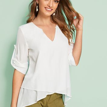 Roll Up Sleeve Notch Neck High Low Blouse