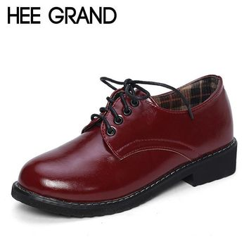 HEE GRAND 2017 Patent Leather Women Oxfords British New Spring Platform Flats Casual L