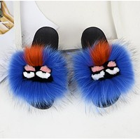 FENDI Classic Hot Sale Fur Women Multicolor Slipper Flats Shoes Blue