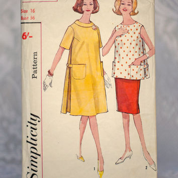 Vintage Maternity Sewing Pattern Dress, Top and Skirt Simplicity 4827, Size 16 Medium-Large 1960s Pregnancy Pattern