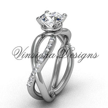 "Platinum diamond engagement ring, ""Forever One"" Moissanite  VD870"