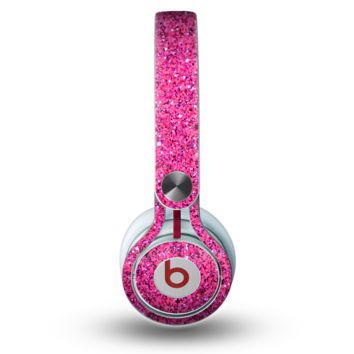 The Pink Sparkly Glitter Ultra Metallic Skin for the Beats by Dre Mixr Headphones
