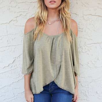 First Date Olive Cold Shoulder Top