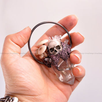 PRE-ORDER - Cute Mushroom Family, Hand Sculpted Realistic Skull, Clear Quartz Crystals, Copper Wire Ring, Amazing, Fantastic Pendant