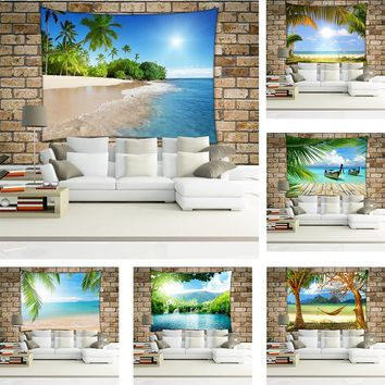 Coconut Tree White Sand Beach Tapestry