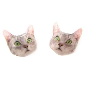 Realistic Tabby Kitty Cat with Green Eyes Face Shaped Animal Resin Stud Earrings