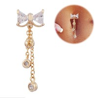 Reverse Belly Button Ring Dangle Bowknot Clear CZ Navel Bar Gold Plated Dangle Body Jewelry tragus piercing earring