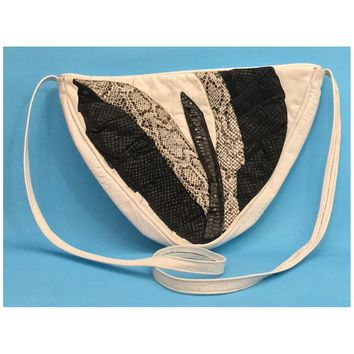 Vintage 1980s Genuine Leather Shoulder Bag / Large Triangle Purse / Black and White Snakeskin Patchwork Handbag / 80s Retro Disco Handbag