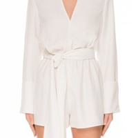 The Fifth ADORE YOU LONG SLEEVE PLAYSUIT IVORY - BNKR