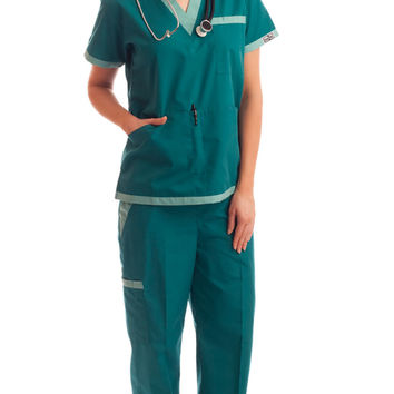 Women's Green/Teal Contrast V-Neck Medical Uniform
