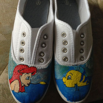 The Little Mermaid Painted Canvas Shoes