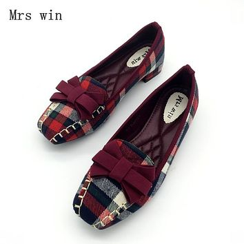 England Style Gingham Women Casual Loafers Spring Autumn Square Toe Bowtie Slip On Flats Shoes