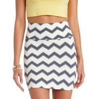 Chevron Print Bodycon Mini Skirt by Charlotte Russe - Black Combo