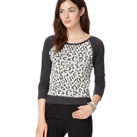 Womens Map to Mars Leopard Print Raglan Sweatshirt